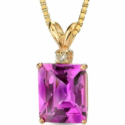 14 Karat Yellow Gold 5.50 Carats Radiant Checkerboard Cut Pink Sapphire Diamond Pendant