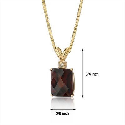 Oravo 14 Karat Yellow Gold 7.25 Carats Radiant Checkerboard Cut Garnet Diamond Pendant