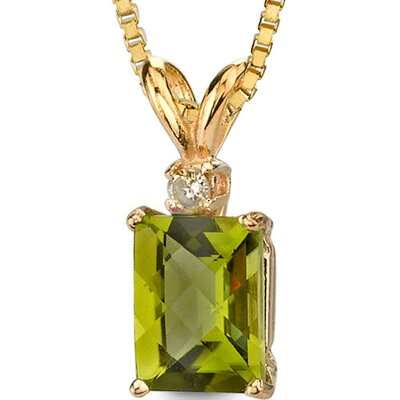 Oravo 14 Karat Yellow Gold 1.75 Carats Radiant Checkerboard Cut Peridot Diamond Pendant