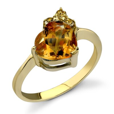 Oravo Striking Sophistication 1.62 Carats Heart Shape Citrine Diamond Ring 14 Karat Yellow Gold