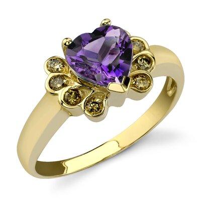 Classical Inspiration 1.41 Heart Shape Amethyst Diamond Ring 14 Karat Yellow Gold