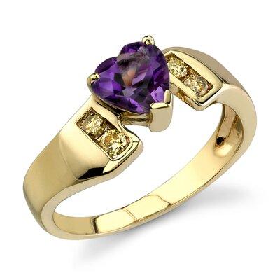 Lavish and Graceful 0.87 Carat Heart Shape Amethyst Diamond Ring 14 Karat Yellow Gold