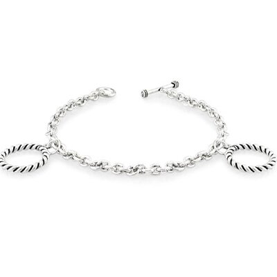 Oravo Toggle Clasp and Bar Charm Bracelet Oxidized Sterling Silver