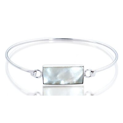 Oravo White Mother of Pearl Bar ID Bangle Bracelet Sterling Silver
