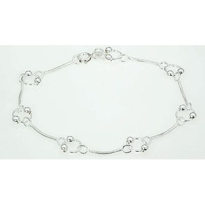 Designer Ring & Ball Link Bracelet Sterling Silver