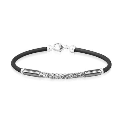 Young Adults Mesh Style Rubber and Silver Bracelet 6 3 4 inches