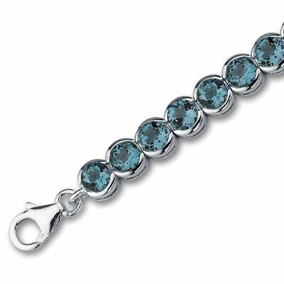 Oravo Must Have Firey 19.00 Carats Round Cut London Blue Topaz Gemstone Tennis Bracelet in Sterling Silver