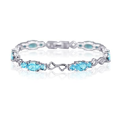 Oravo Designed just for you Oval and Round Cut Gemstone Bracelet in Sterling Silver