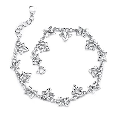 Celestial Delight Sterling Silver Designer Inspired Fancy Link Bracelet with Tulip and Star Charms