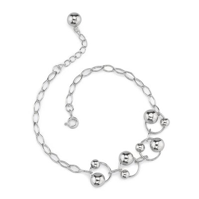 Rings of Beauty Sterling Silver Designer Inspired Oval Link Chain Bracelet with Silver Bead ...