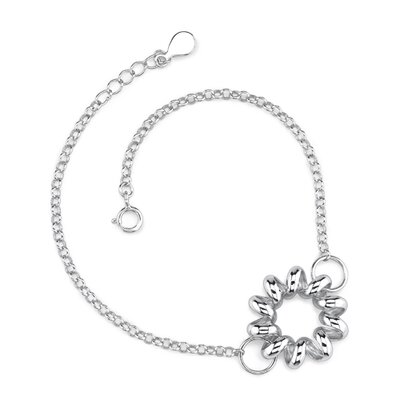 Oravo Elegant and Charming Sterling Silver Designer Inspired Curb Link Chain Bracelet with a Floral Motif