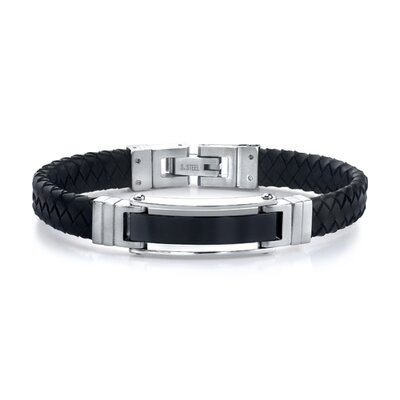 Flawless Style Stainless Steel ID-style Bracelet with Braided Leather Strap for Men
