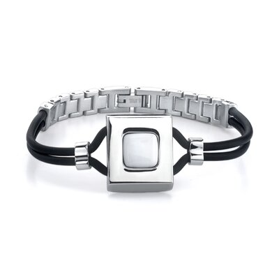 Star Chic Stainless Steel Link and White Ceramic Centerpiece Dual Rubber Cord Bracelet