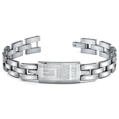 Tungsten ID Style Laser Pattern Bracelet for Men
