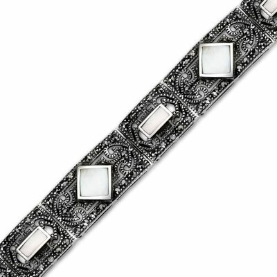 Romantic Indulgence Sterling Silver Marcasite and Mother of Pearl Art Deco Style 71 4 inches ...