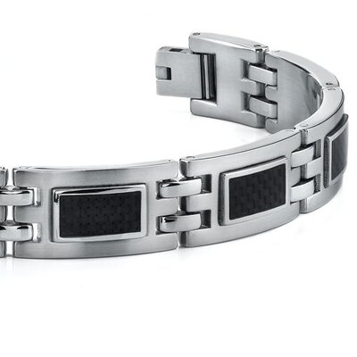 Oravo Modern Style Mens Stainless Steel Bracelet with Black Carbon Fiber Highlights