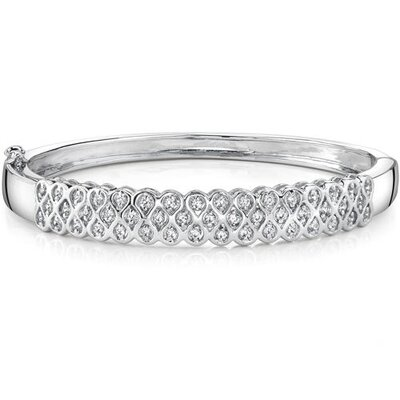Absolutely Fabulous Sterling Silver Bezel-Set Cubic Zirconia Hinged Bangle Bracelet