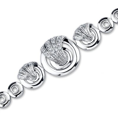 Sublime Sophistication Sterling Silver Circle Link Bracelet with Cubic Zirconia