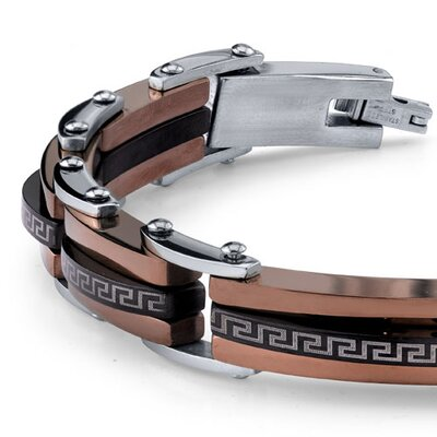 Oravo Mens Black Brown and Silver-Tone Stainless Steel Greek Key Link Bracelet