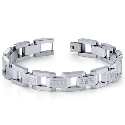 Modern Mens Stainless Steel Silver-Tone Greek Key Large Link Bracelet