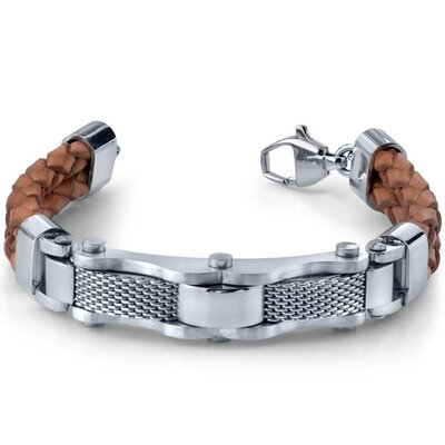 Refined and Rugged Mens Stainless Steel Industrial Chain and Brown Leather Combo Bracelet