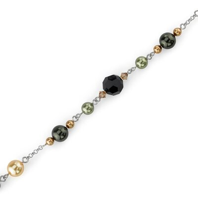 Earth Goddess Sterling Silver Charm Bracelet with Swarovski Crystals and Cultured Pearls