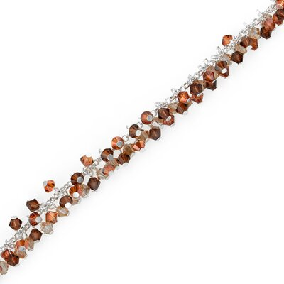 Amber Lights Sterling Silver Charm Bracelet with Swarovski Crystal Beads