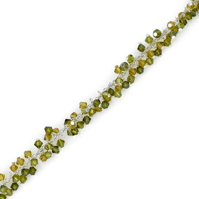 Green with Envy Sterling Silver Charm Bead Bracelet with Swarovski Crystals