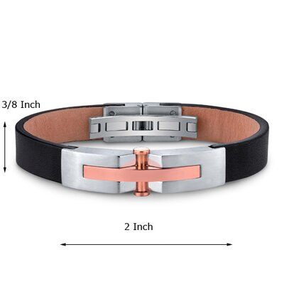 Oravo Mens Stainless Steel and Leather Bracelet with Rose Gold Rivet Accents