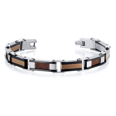 Sleek and Modern Class Three Tone Stainless Steel Coffee Color Cable and Ceramic Design Mens ...