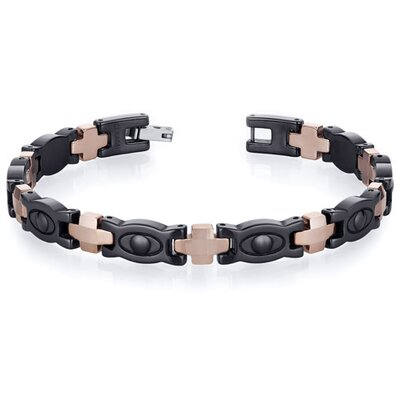 Oravo Suave Mens Tungsten Ceramic Copper Tone Eyeball Link Bracelet