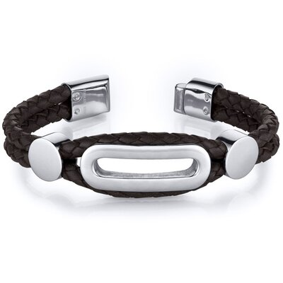 Mens Brown Woven Leather Steel Accented Bracelet