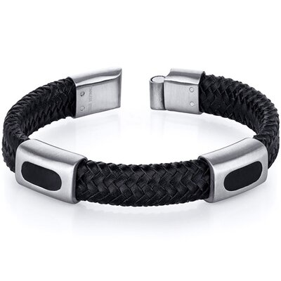 Oravo Mens Black Woven Leather and Stainless Steel Bracelet