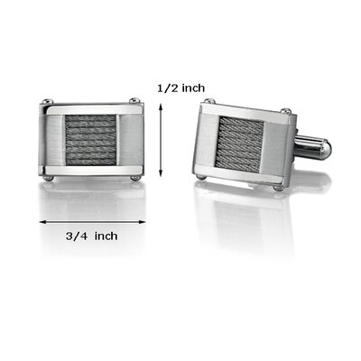 Oravo Stainless Steel Cable Design Cufflinks for Men
