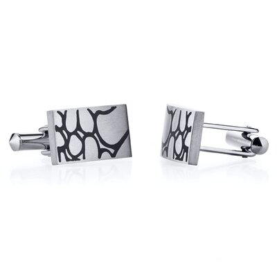 Abstract Squiggle Design Brushed Finish Titanium Cufflinks