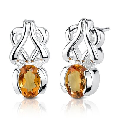 "Oravo 0.25""x0.63"" 1.50 Carats Oval Shape Citrine Earrings in Sterling Silver"