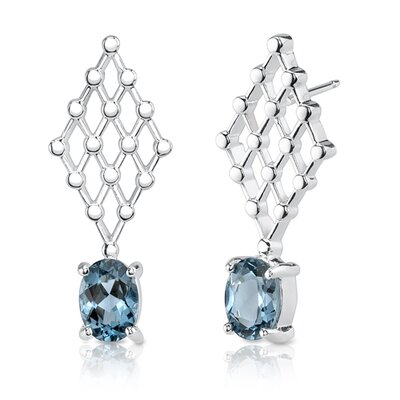 "Oravo 0.38""x1"" 2.00 Carats Oval Cut London Blue Topaz Earrings in Sterling Silver"