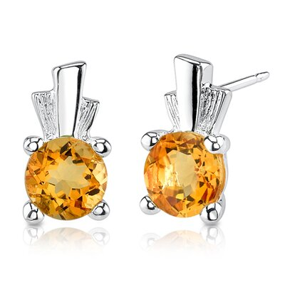 Oravo 1.50 Carats Round Shape Citrine Earrings in Sterling Silver