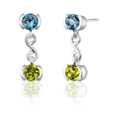 Oravo 2.00 Carats Round Cut London Blue Topaz and Peridot Earrings in Sterling Silver