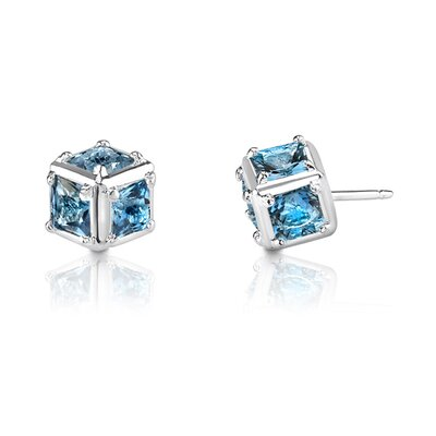 2.00 Carats Princess Cut London Blue Topaz Earrings in Sterling Silver