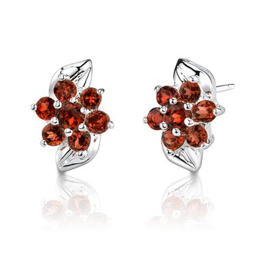 Oravo 2.18 Grams 1.25 Carats Round Cut Garnet Earrings in Sterling Silver