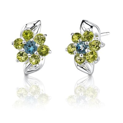 Oravo 1.00 Carats Round Cut London Topaz Peridot Earrings in Sterling Silver