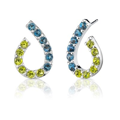 Oravo 3.25 Carats Round Cut Peridot London Topaz Earrings in Sterling Silver