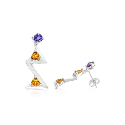 Oravo Radiant Trillion Cut Amethyst Citrine Three-Stone Drop Earrings Sterling Silver