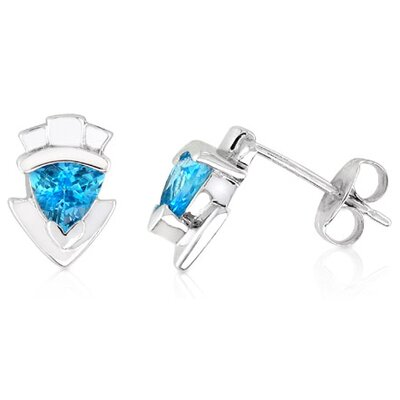 Oravo Trillion Cut Genuine Swiss Blue Topaz Earrings Sterling Silver