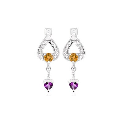Oravo Multicut Gemstone Garnet Dangling Heart earrings Sterling Silver