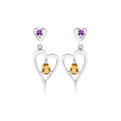 Oravo Multicut Gemstone Gemstone Dangling Earrings Sterling Silver