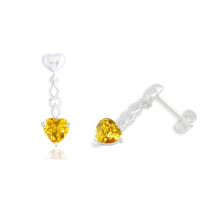 Oravo Heart Shaped Gemstone Drop Earrings Sterling Silver