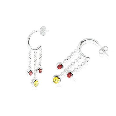 Oravo Round Cut Citrine Garnet Dangling J-hoop Earrings Sterling Silver