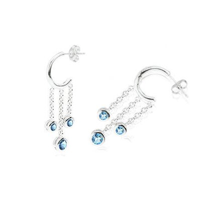 Oravo Round Cut London Blue Topaz J-hoop Dangling Earrings Sterling Silver